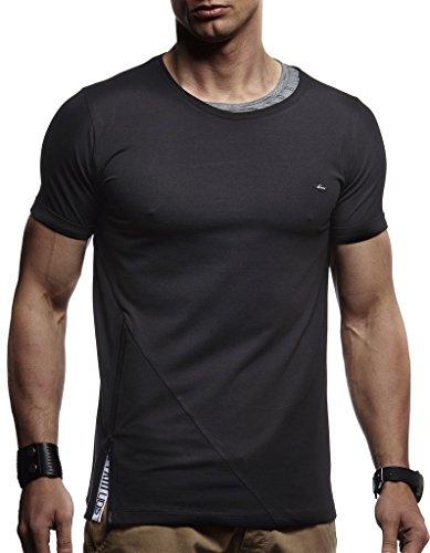LEIF NELSON Herren Jungen T-Shirt Hoodie Sweatshirt Rundhals Ausschnitt Kurzarm Longsleeve modern Basic Shirt Stehkragen Vintage Sweatshirt Baumwolle-Anteil LN1215; Größe M, Schwarz