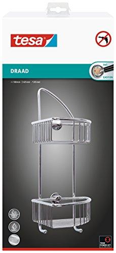 Tesa draad Eck-Duschregal (zweistöckig, zwei Haken, Messing, verchromt, inkl. Klebelösung, 425mm x 180mm x 205mm)