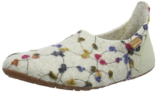 Bisgaard Unisex-Kinder Wool Basic Slipper, Weiß (171 Creme-Flowers), 35 EU