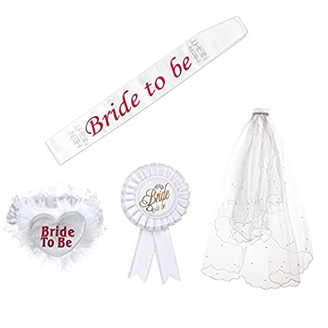 Bride To Be Satin Sash, Badge, Garter and Veil Bachelorette Party Favors Bridal Shower Wedding Decorations Supply (Veil With Hair Comb)