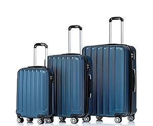 BEIBYE TSA-Schloß 2080 Hangepäck Zwillingsrollen Reisekoffer Koffer Trolley Hartschale Set-XL-L-M(Boardcase) in 12 Farben (Blau, 3tlg. Kofferset)