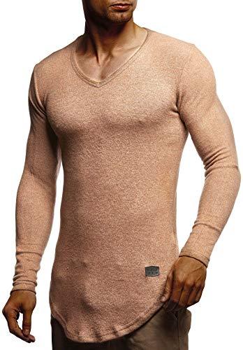 LEIF NELSON Herren Pullover V-Ausschnitt Slim Fit | Schwarzer Männer Longsleeve | dünner Pulli Sweatshirt Langarmshirt | Jungen Hoodie T-Shirt Langarm Oversize | LN8117 Braun Medium