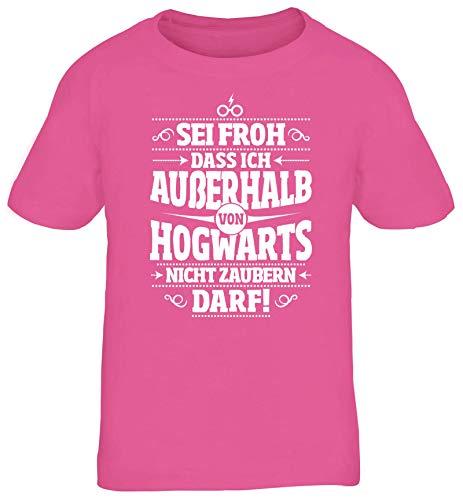 ShirtStreet Fanartikel Fan Kult Film Kinder T-Shirt Rundhals Mädchen Jungen Außerhalb von Hogwarts, Größe: 122/128,pink
