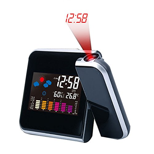 Horloge Projection Numérique LED, Température, Humidité, Horloge de Station Météo avec, Fonction Snooze, Minuterie de Sommeil-Dimmable Projection