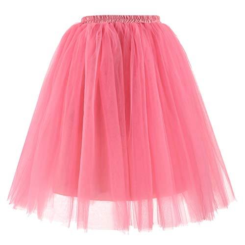 Sllowwa Damen 80er Puffy Tüllrock Tütü Röcke Tüll Petticoat Gute Qualität Kurzer Faltenrock Tutu Tanzen Rock