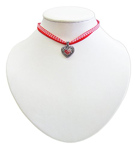 Kinder Trachten Halskette kariert mit Herz Anhänger Rot - Süßer Schmuck für Mädchen zu Dirndl und Kleidern