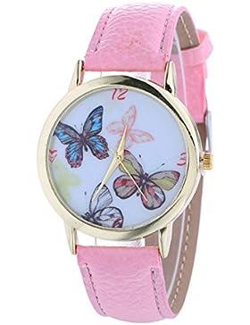 Vovotrade Damen Schmetterlings Muster Art und Weisefrauen färbte PU lederne Uhr(Rosa)