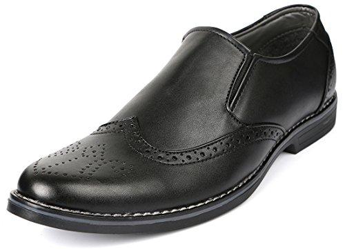 Escaro Men's Black Formal Brogue Slip On Dress Shoes (ES1043KB_BLACK_7)