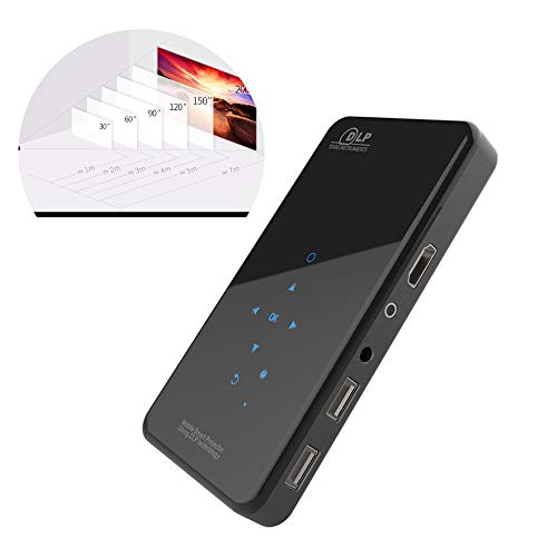ZYWTZ Mini Beamer, HD Portable Filmprojektor, Mobiltelefon drahtlos auf dem gleichen Bildschirm, Unterstützung des HDMI-Eingangs, Android 7.1.2-System, 2000~2999 Lumen,1G+8G
