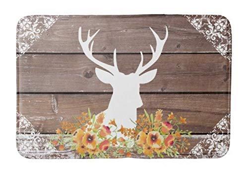 Wdskbg Doormat Welcome Mat Indoor/Outdoor Bath Floor Rug Decor Art Print with Non Slip Backing 16X24 inch Chic Antique Rustic barn Wood Deer Antlers Bath mat (Deer Wolldecke)