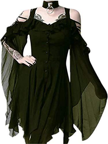 TEBAISE Gothic Kleider Damen Schwarz Chiffon Steampunk Kleid Vintage Minikleid Cosplay Kostüm Cocktailkleid Partykleider Fledermaus Batwing Off Shoulder Sommerkleider Swing Kleid mit Schulter Ärmel