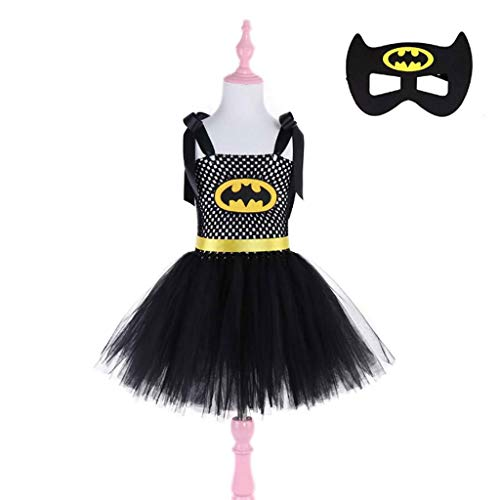 Girl's Kostüm Jester - DONGBALA Batman-Kleid für Kinder, Halloween Batman Kinderfest Tanzkleid Feiertag Markierte Kleidung Schulspiel Karneval Cosplay Mädchen Kleid Schwarz,140cm