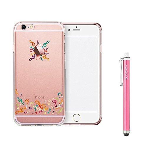 Coque iPhone 7 Plus Housse étui-Case Transparent Liquid Crystal Mandala en TPU Silicone Clair,Protection Ultra Mince Premium,Coque Prime pour iPhone 7 Plus (2016)-les petits moutons note de musique