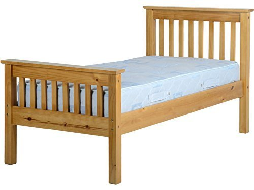 Seconique Monaco Solid Pine Wooden Bed Frame - Single, Double, Kingsize - Antique Pine, Distressed Waxed Pine or White (Antique Pine, 3FT Single)