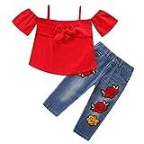 LEXUPE Mädchenbekleidung, Toddle Kids Baby Girl Schulterfreies Oberteil Blumen Jeans Denim Hose Outfits Set