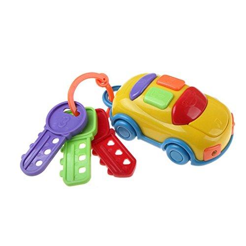 Xshuai 23,5 * 11,5 * 5 cm Vintage Baby Kleinkind Lernen Spaß Spielzeug CIKOO Musik Auto Waschen Schlüssel Pädagogisches Spielzeug (Gelb) Kleinkind-mädchen-besen-set