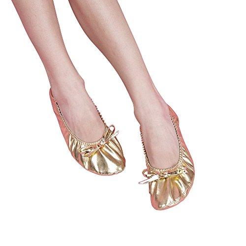 Besmall Kinder Glänzende Tanzschuhe Gymnastik Schuhe Ballettschuhe Balletschläppchen Jazz Karneval Indien Tanzschuhe(28.5-35,Gold) Gold