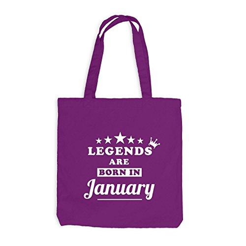 Jutebeutel - Legends are born in January - Birthday Gift Magenta