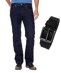Levi's® 501® Jeans - Regular Straight Fit - Stonewash - Onewash - Marlon Wash - Black - Light Broken In mit Urban Classics Gürtel, Größe:W 38 L 32, Wash:onewash (00501-0101)