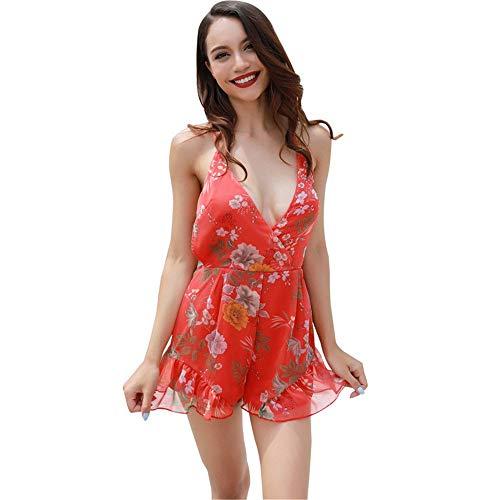 Mono Mujer Verano Vintage Moda Bohemio Beach Florales Overall Mode De Marca Elegantes Sin Mangas V-Cuello Espalda Descubierta Anchos Casuales Monos Playsuit