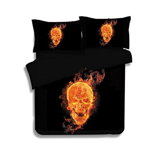 3 Pcs Housse de couette Définit 3d Imprimé Halloween Squelette Flamme Tête de mort avec housse de couette avec taie d'oreiller Noir Parure de lit, 200X200