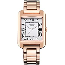 Blenheim London® B3180 Curve Rose Gold Watch White Roman Numeral with Sliver Hands with Stainless Steel Strap