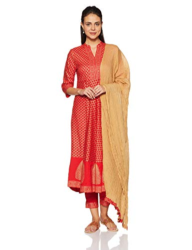 Amazon Brand - Myx Women's Anarkali Salwar Suit Set (AW18FSTSKD2B_Red_L)