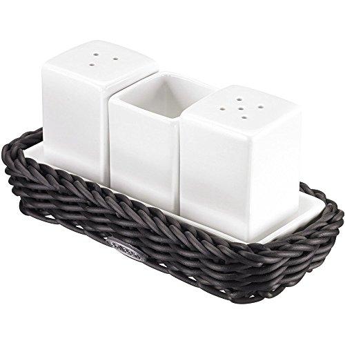Saleen 2102219160 Rechteckiger Korb mit Porzellanmenage, schwarz (Salz Und Pfeffer Korb)