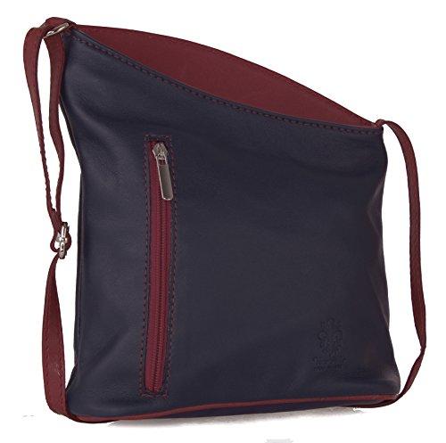 Big Handbag Shop �?Tracolla in pelle italiana, vera pelle morbida, misura piccola Navy - Red Trim