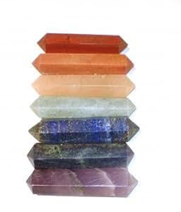 Lot de 7 double pointe de massage et soins - 7 pierres chakras 5,5 cm