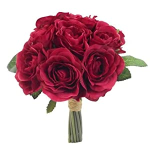 SF FS – Ramo de Rosas Artificiales (26 cm), Color Rojo Oscuro