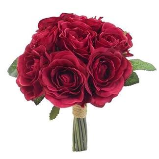 SF FS – Ramo de Rosas Artificiales (26 cm), Color Rojo Oscuro