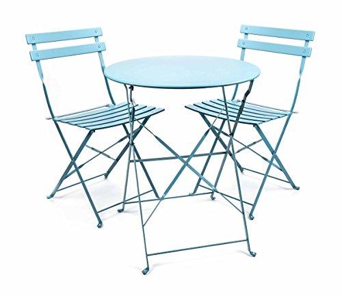 Bistro-klappstühle (Bistro-Garnitur klappbar, 3-teilig, Metall, Retro-Design, innen und außen, lieferbar in den Farben Türkis, Blau oder Grau (Blau))