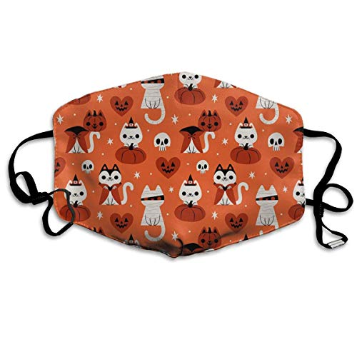 Vbnbvn Unisex Mundmaske,Wiederverwendbar Anti Staub Schutzhülle,Gesichtsmaske Halloween Cat Anti Pollution Washable Reusable Mouth Masks for Man Woman