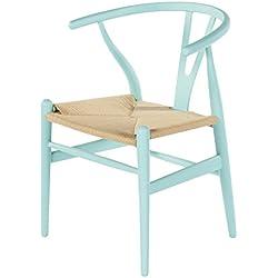 Decoración Vintage Wishbone - Silla de madera y asiento de ratán, réplica Y CH24 de Hans Wegner, 48 x 48 x 48/80 cm, color celeste
