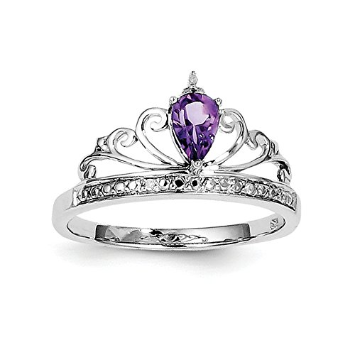 Sterling Teardrop Amethyst Rhodium Diamant Verchromt Silber Ring - Teardrop Ringe Amethyst