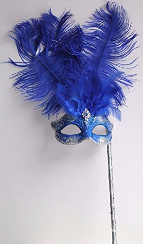 Damen Qualität Funkelnd Handgehalten Blau und Silber Venezianische Maskerade Karneval Partei Augenmaske Maske mit Federn (Maskerade Masken Blau)