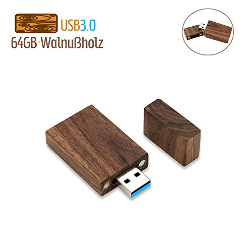 64GB USB 3.0 Stick Holz JBOS Hölzern Flash Speicherstick USB3.0 USB Drive 64 GB USB Flash Drive Wood USB-Flash-Laufwerk als Geschäftsgeschenk oder Geschenk für Freunde, Walnußholz