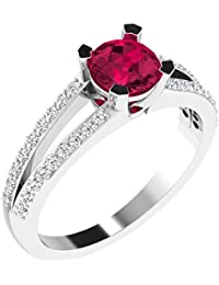 His & Her .925 Sterling Silver, Solitaire And Ruby Ring For Women