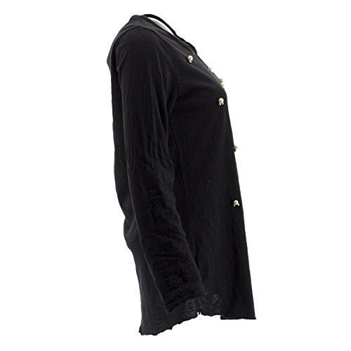 Netgozio Maglia Donna Leggera con Perle Girocollo Primaverile Manica Lunga Vari Colori Nero