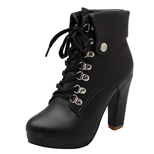 AIYOUMEI Damen Schnürstiefeletten Blockabsatz Plateau High Heel Stiefeletten mit Schnürung und Absatz 10cm Ankle Boots Women Schwarz 41 EU -