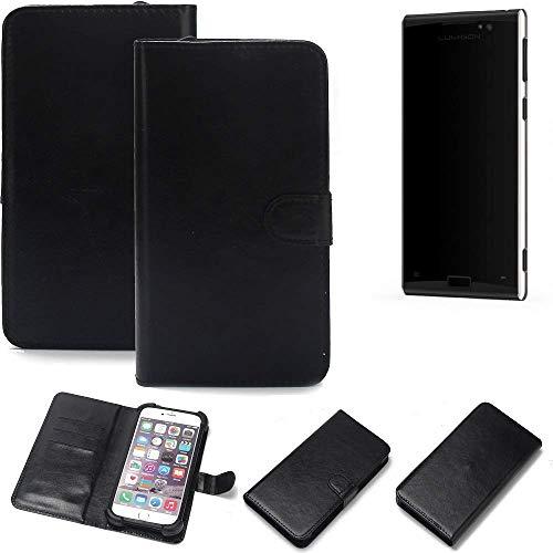 K-S-Trade Wallet Case Handyhülle für Lumigon T3 Schutz Hülle Smartphone Flip Cover Flipstyle Tasche Schutzhülle Flipcover Slim Bumper schwarz, 1x
