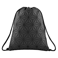 Segorts Geometric Lingge Drawstring Bag Gym Bag Sport Backpack Shoulder Bags Outdoor Daypack Travel College Rucksack for Women Men