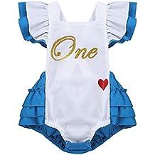 4392f0c545423 TiaoBug Bébé Fille Vêtement 1er Anniversaire Barboteuse Baptême Cérémonie  Body Combinaison Déguisement Alice au Pays des