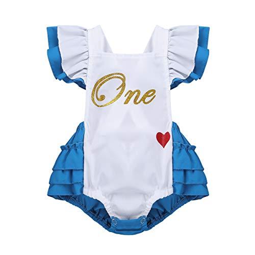 Agoky Baby Strampler Mädchen 1 Jahr Geburtstag Outfits Festzug Kleidung Cosplay Kostüm für Karneval Cosplay Party Weihnachten Fasching Verkleidung Weiß&Blau 12-18 Monate(Herstellergröße ()
