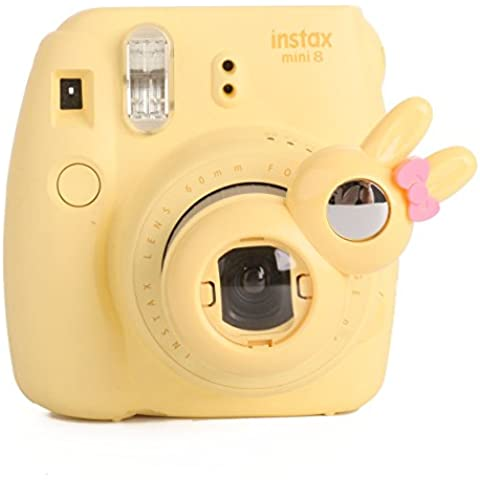 Woodmin Conejo Estilo Selfie Objetivo de Primer Plano para Fujifilm Instax Mini 8/7s Cámara (rosa)