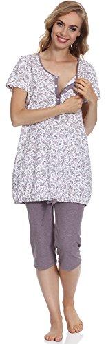 Be Mammy Femme Pyjamas d'allaitement BE20-128 Blanc/Melange