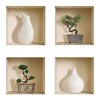 The Nisha Art Magic 3D Vinyl Removable Wall Sticker Decals DIY, Set of 4, White Vase and Green Bonsai 408-UK