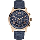 Guess Style W0380G5 for Men - Analog Casual Watch, Stainless Steel Case With Leather Band