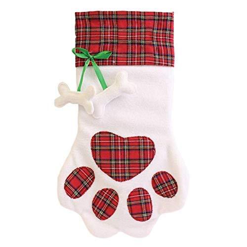 The Home Fusion Firma Festlich Wunderland Weich Hund Haustier Weiß Weihnachten Haustier Strumpf mit Tartan Pfotenabdruck -